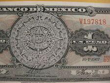 Mexico 1 Peso  Banknote, UNC,   Aztec Stone Calender,   paper money