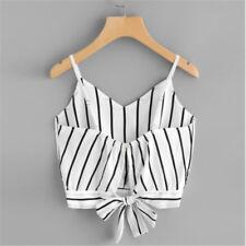 Ladies Stripe Bow Tie Spaghetti Strap Sleeveless Crop Tank Tops Beach Summer one
