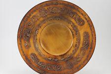 Vintage Hand Carved Wooden Art Plate Floral Design Plaque Charger