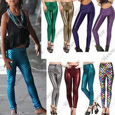 New Kids Girls Mermaid Fish Scale Holographic SlimFit Metallic Leggings Trousers