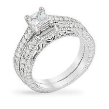 2.8 TCW CZ Princess Solitaire Filigree Bridal Engagement Wedding Ring Set 5-10