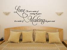 El amor que los años contar lema Dormitorio Sala calcomanía Pared Arte Adhesivo De Imagen