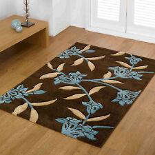 LIVINGROOM RAPELLO DESIGNER JASMINE FLORAL BROWN TEAL BLUE CLEARANCE RUGS MAT