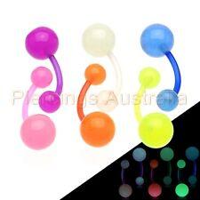 Glow Ball Bio Flex Belly Button Bar Navel Ring Body Piercing Jewellery