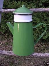Cafetière filtre émaillée verte 1,5 L neuve fonctionnelle émail véritable FRANCE