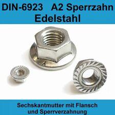 M6 DIN 6923 A2 Edelstahl Sechskantmuttern mit Flansch Sperrverzahung Bund Mutter