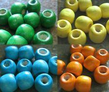 40 x Holzperlen Großlochperlen blau grün 11x10 mm Schmuckherstellung Holz Perlen