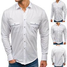 BOLF Hombre Camisa Manga Larga Ajustado Clásico Casual Slim Fit 2B2 Elegante