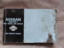 2000 Nissan Sentra/NX 1600/NX 2000- OWNERS MANUAL