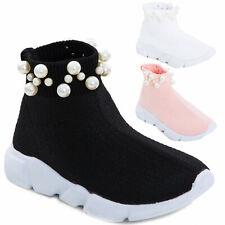 Scarpe bimba bambina calzino perle sport tessuto elastico sneakers sportive 963B
