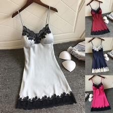 Womens A Line Pajama Satin Mini Lingerie Sleepwear Nightwear Strappy Sexy Dress