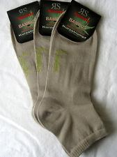 3 algunos Hombre Bambú Zapatillas Medias Cortas Calcetines Borde Suave Beige
