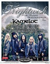 """NIGHTWISH / KAMELOT """"IMAGINAERUM TOUR"""" 2012 SEATTLE CONCERT POSTER - Metal Music"""