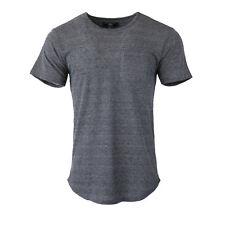 Men's Basic Long Line Extended T-shirt Hip hop Hipster Pocket Tee Charcoal