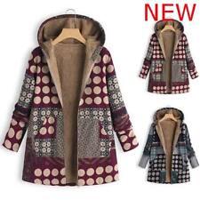 Padded Warm Parka Winter Fluffy Jacket Outwear Women's Hooded Floral Coat New