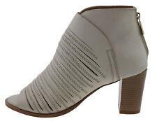 BPRIVATE e0703x Short Shaft Boots Peep Toe Leather White 180099