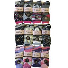 6/12 Ladies Premium Quality Designer Cotton Socks Comfort With Stretch Size 4-7