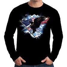 Velocitee da uomo a maniche lunghe T Shirt American Eagle USA America Biker A17995