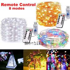 50/100 LED USB Copper Wire Fairy String Lights X'mas Tree Party Decor w/Remote