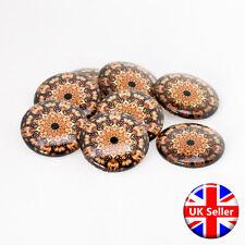 Gold Flower Design 30mm Round Cabochons