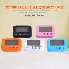 Mini ABS LCD Digital Despertador Noche Luz Alarma Reloj Cronógrafo Calendario