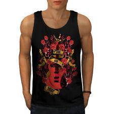 Wellcoda Roses and Guns Rock Mens Tank Top, Band Active Sports Shirt