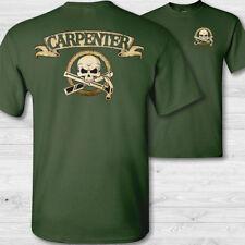 Charpentier Tête de Mort T-Shirt, Menuisiers Crâne Menuiserie Badge Chemise