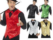 Sequin Waistcoat Casino Mens Showtime Adults Fancy Dress Accessory