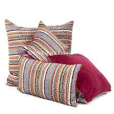 New Soft Woven Velvet Multi Coloured Red Modern Pattern Striped Fabric Cushions