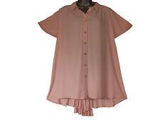 Plus size pink chiffon shirt with sunray pleated back
