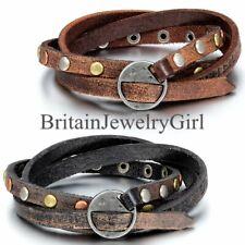 Multi-strand Braided Leather Round Rivet Bracelet for Men Women Wristband Wrap