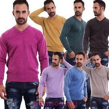 Maglione uomo pullover maniche lunghe scollo V maglioncino casual nuovo M-83