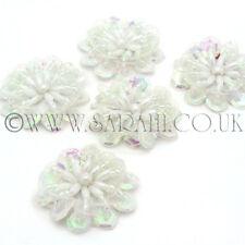 PACK OF 5 WHITE BEADED SEQUIN FLOWER, APPLIQUE,MOTIF, edging,trim,sequins,beads