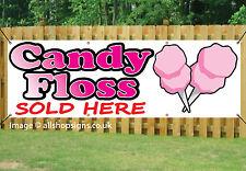 Candy Floss vendidos aquí Impreso bandera signo al aire libre de PVC con Ojales 002