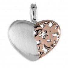 925 Echt Silber Kette Collier Anhänger Herz bicolor Rosegold Blumen Herzen