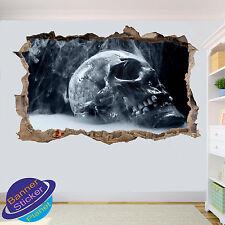 Vapore TESCHIO HORROR Zombi ART 3d Adesivo Parete rotte Room Decor Decalcomania Murale yl7