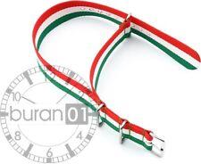 Uhrenarmbänder - Dorn- Nylon Militär-grün-weiß-rot gestreift  (Wasserfest)24mm