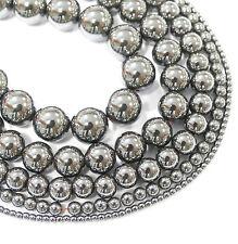 Hämatit Perlen Kugeln glänzend dunkelgrau Edelsteine 2 - 16 mm, 1 Strang BACATUS