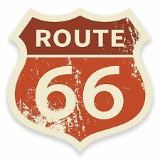 2 x 10cm Route 66 Vinyl Sticker Laptop Car Bike Travel Luggage USA America #9652