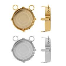 Espiga de Plata Esterlina Doble puestos pendientes para pegar cristales de 4470 10 mm 12 mm