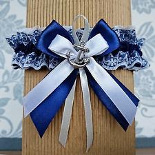Strumpfband nautische Hochzeit Anker Marineblau Navy Blau Strand