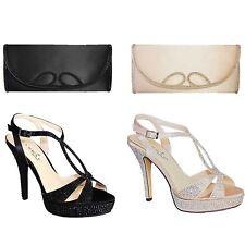 Ladies Diamante Criss Cross Strap Platform Party Women's High Heels Clutch Bag