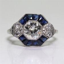 Woman Retro Zircon Cut Square Imitation Diamond Vintage Engagement Rings LH