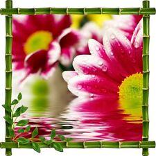 Sticker mural trompe l'oeil déco bambous Fleur935