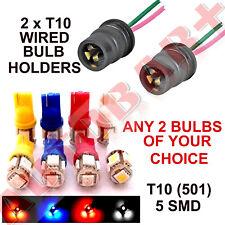 2 x T10 (501) W5W SMD LED BULB HOLDER & 2 SMD LED BULBS SIDE LIGHT PARKING BULBS