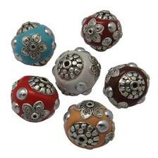 4 stupendi indonesiano Gioielli Perle Beads Indonesia handmade 19 mm brass