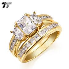 TT Princess Cut Gold Tone Engagement Wedding Ring Set (RF124J) NEW