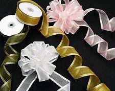 5 Metres Satin Edge Organza Ribbon 10mm  Choose Colour