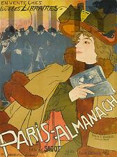 PLAQUE ALU DECO AFFICHE LIBRAIRIE SAGOT PARIS ALMANACH GEORGES DE FEURE 1896