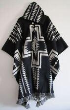 Llama Wool Man Woman Cape Poncho black dark Hood Jacket Handmade in Ecuador